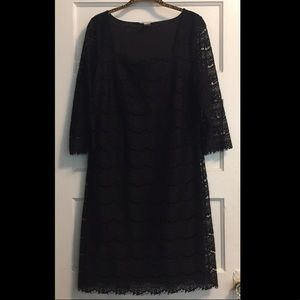 EUC WHBM Black Dress with scalloped lace